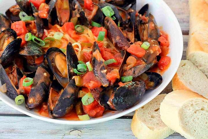Рецепт полбы с мидиями и томатами