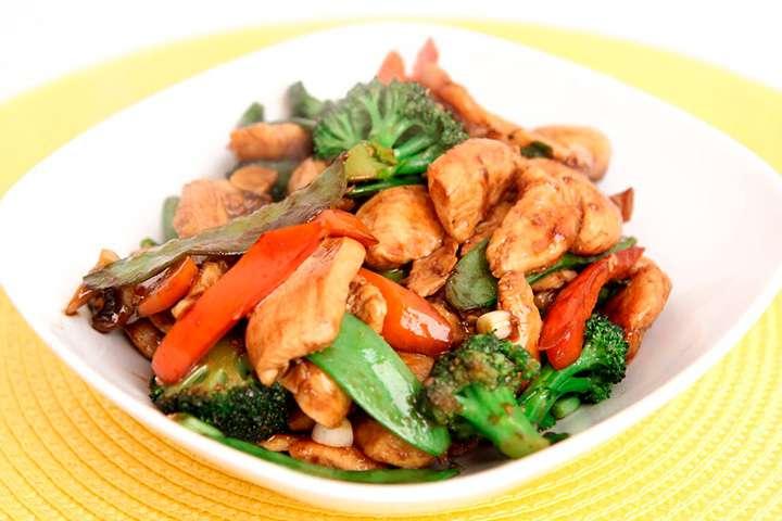 Соте из курицы с обжаренными овощами